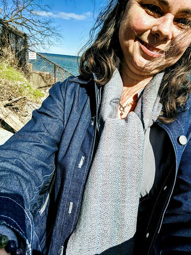 Irieknit wearing new handspun handwoven 3-shaft point twill by Lake Ontario