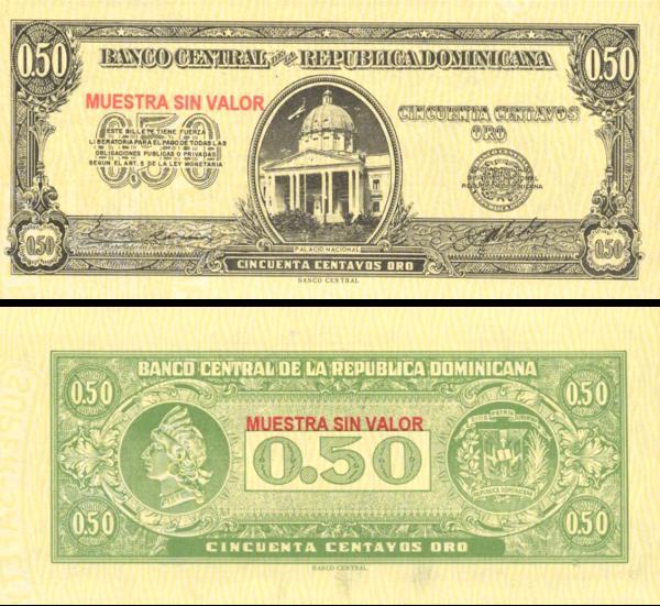 50 Centavos Oro Dominikánska republika 1961 P90s