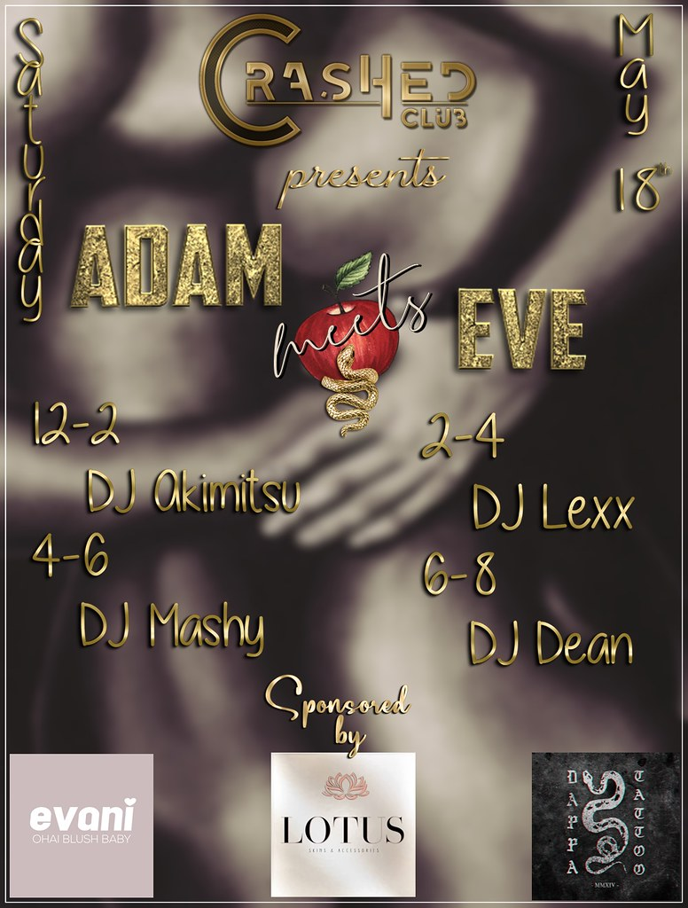 Adam meets Eve event at CrasHed May 18th