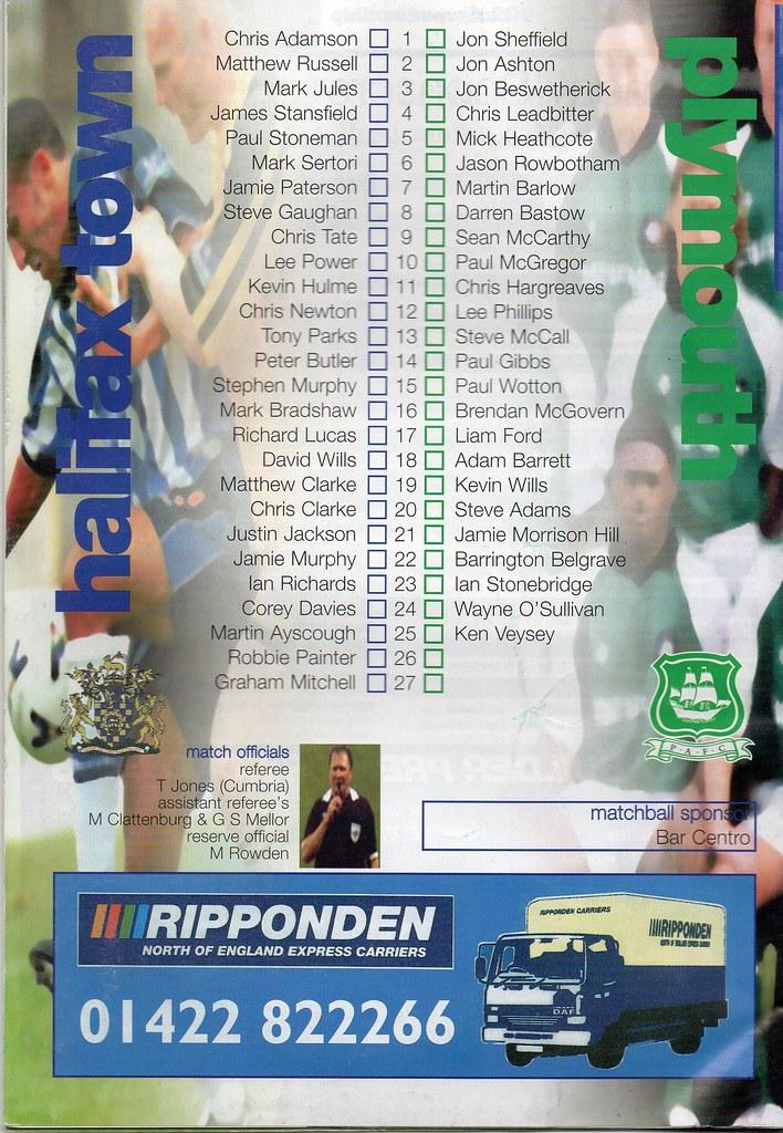 21-08-1999 Halifax Town 0-1 Plymouth Argyle 2