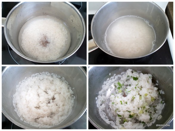 Cooking rice in a pot