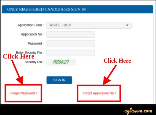 WBJEE 2019 Forgot Password and Application Number