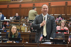 Rep. Fishbein has a laugh while asking questions on the House floor during the May 8 session day.