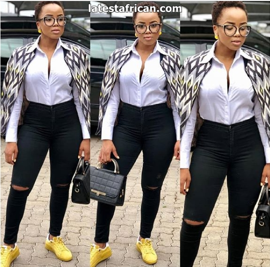 Stylish African print tops with jeans for ladies