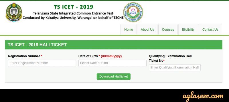 TS ICET 2019 Admit Card / Hall Ticket