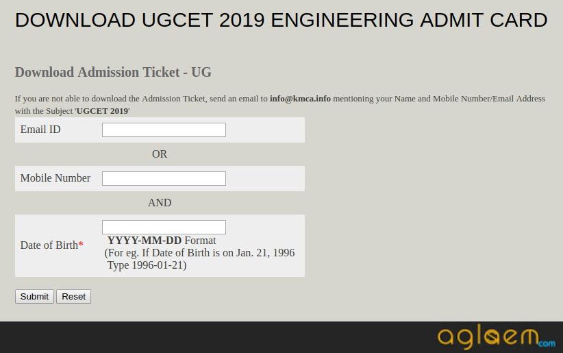 KRLMPCA UGCET 2019 Admit Card Login