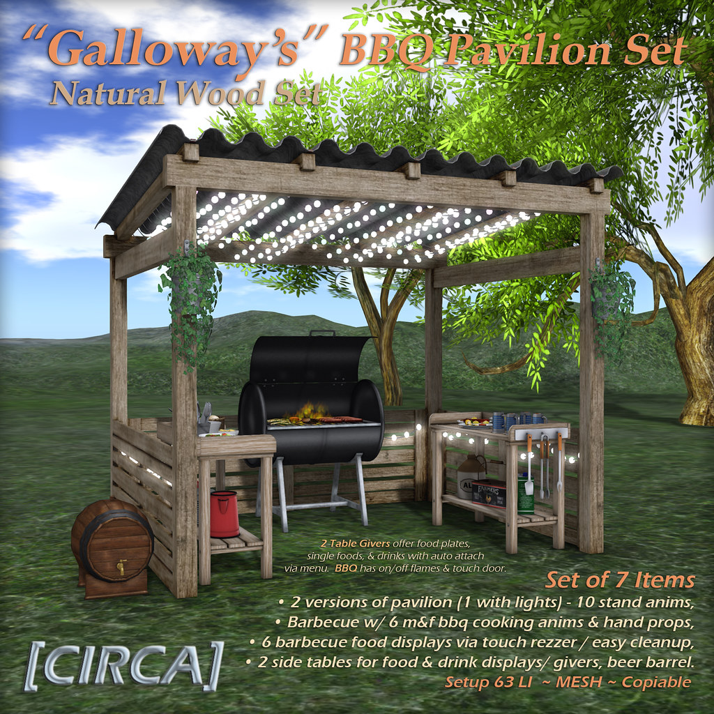 "@ The Boardwalk | [CIRCA] – ""Galloway's"" BBQ Pavilion Set – Natural Wood"