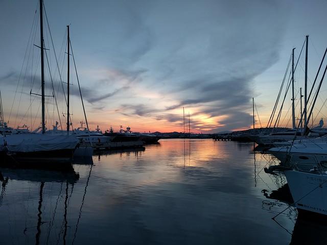 sunset at flisvos marina