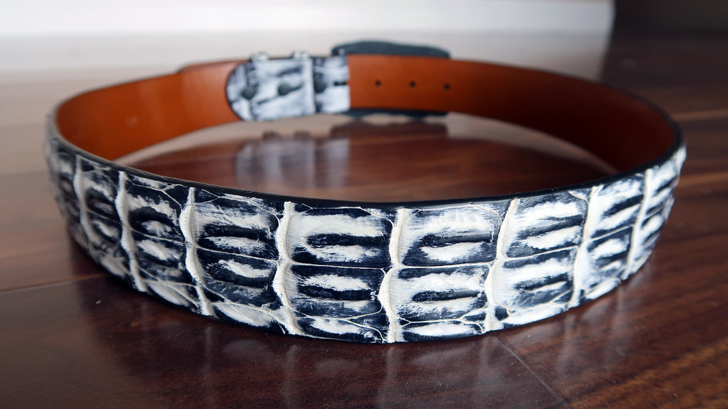 Jacob Hill by Piedmont Leather - White smoke hornback saltwater crocodile belt