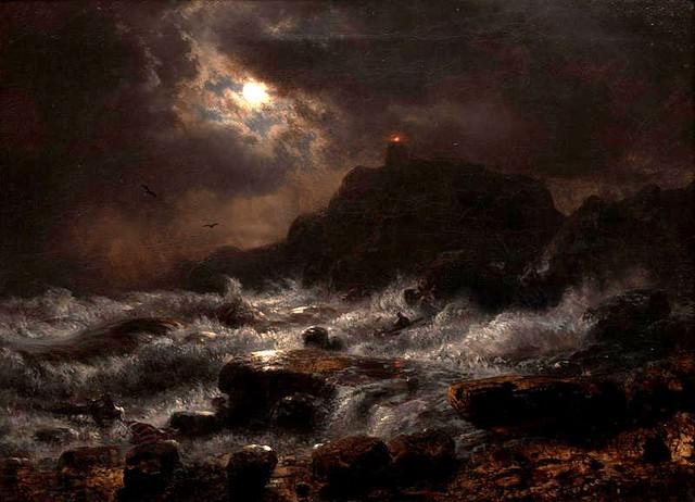 Achenbach, Andreas (1815-1910) - 1848 Norwegian Coast by Moonlight (Crocker Art Museum, USA)