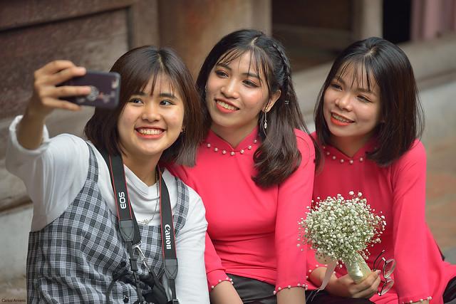 Selfie in the Temple of Literature (Hanoi, Vietnam).