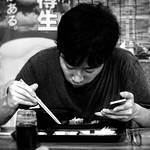 I Don't Want to Miss a Thing This is why he has chopsticks and on the other hand mobile phone :)