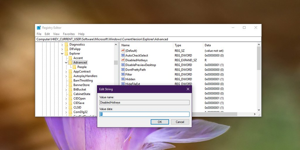 How to disable a Win key shortcut on Windows 10
