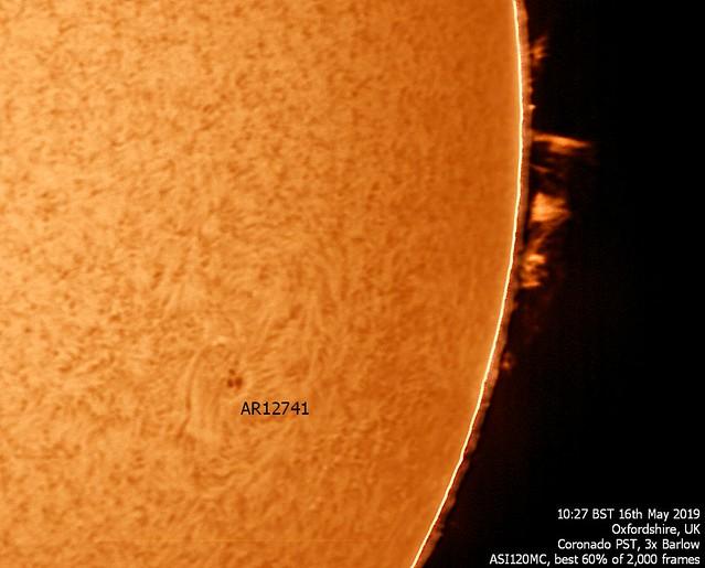 Sun in H-alpha 10:27am BST 16/05/19