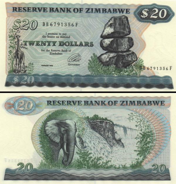 20 Dolárov Zimbabwe 1994, P4d