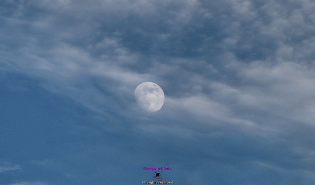 Midday moon in the clouds
