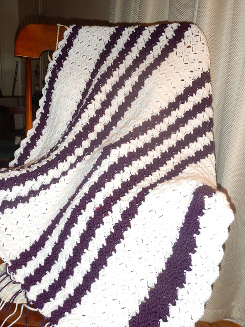 Hand Crochet Stripes Throw: Purple And White.