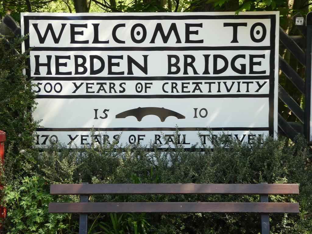 Heritage sign outside Hebden Bridge Railway Station