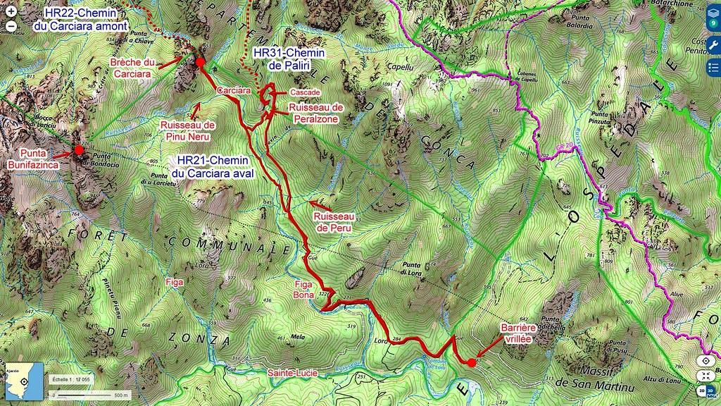 Carte IGN des secteurs des chemins du Carciara et de Paliri en Haut-Cavu