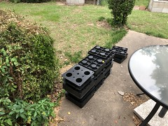 Plastic risers for the pavers in various sizes to level it up