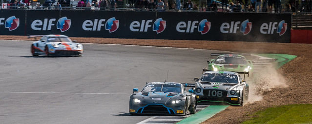 Vaxiviere in the Aston Vantage leads Soucek in the Bentley Continental
