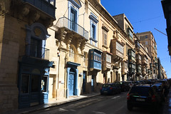 Maltese balconies line the Valletta streets.