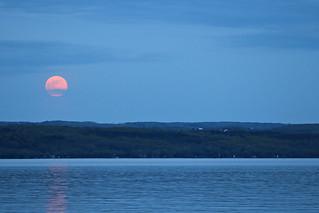 Moonrise over Cayuga Lake