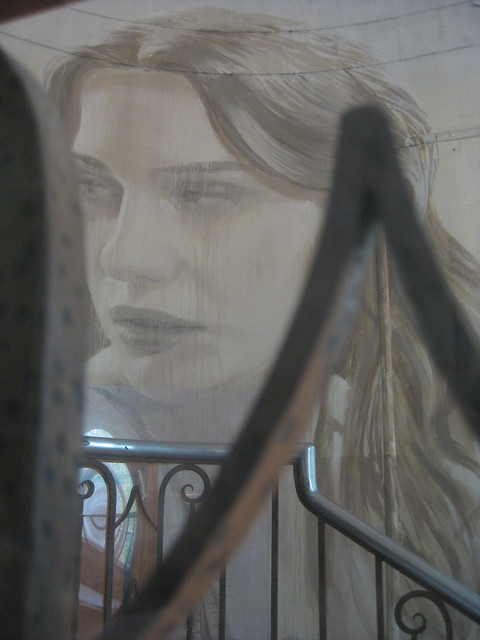 Wrought Iron Framing V - the Stairwell Portrait of Lily Sullivan - Rone Empire Installation Exhibition; Burnham Beeches, Sherbrooke