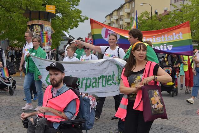 Prideparaden i Norrköping 2019 – Tobias Holmsberg, Paradgeneral, och Maria Bergqvist, ordförande för East Pride