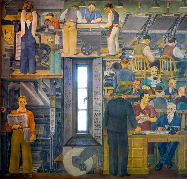 """""""News Gathering""""  Coit Tower mural by Suzanne Scheuer 1934"""