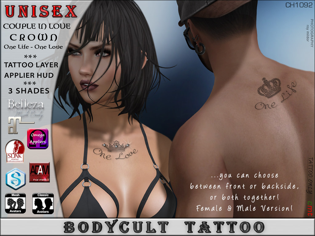 BodyCult Tattoo UNISEX Couple in Love CROWN CH1092 - TeleportHub.com Live!