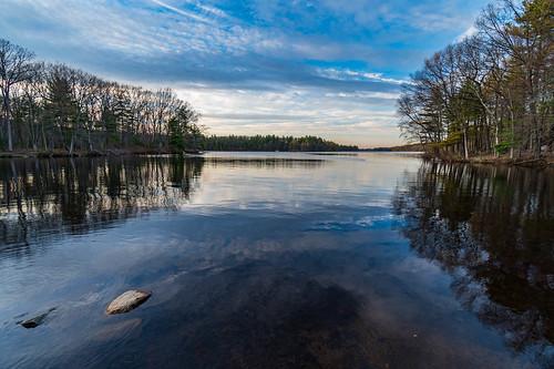 clouds dusk lake landscape reflection sky statepark trees ashland ma unitedstates