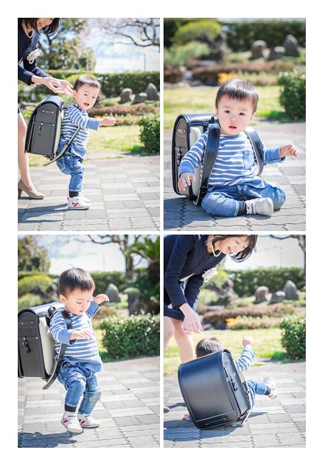 お兄ちゃんのランドセルを背負って歩こうとした1歳の男の子♡