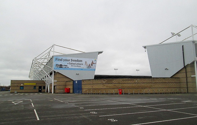 New Meadow Stadium, Shrewsbury,South and Main Stands