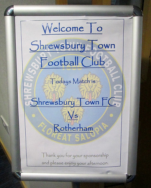 Poster for Game at New Meadow Stadium, Shrewsbury