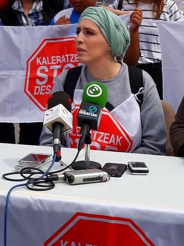 Momento de la rueda de prensa de STOP Desahucios
