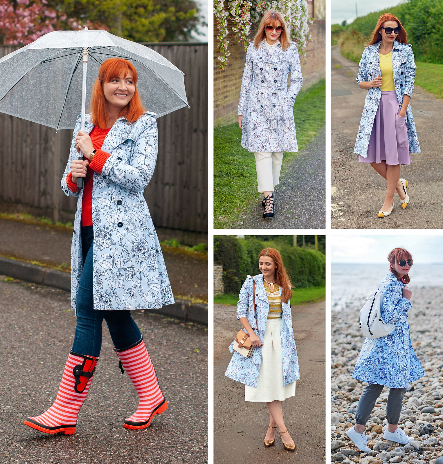 5 Ways to Wear a Blue Floral Raincoat / Patterned Trench Coat | Not Dressed As Lamb, Fashion Over 40