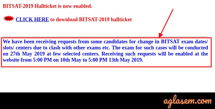 BITSAT 2019 Exam Date, Center, Time Change Process Starts From 10 May, 5:00 PM