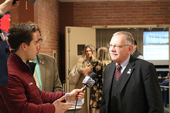 Rep. Simanski speaks with 22 News before a regional forum on proposed tolls legislation