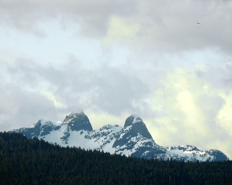 THE LIONS OF THE COASTAL MOUNTAINS, ( AND A PARACHUTE IN THE UPPER RIGHT CORNER.)   BC.