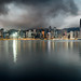 Panorama of Hong Kong City skyline at sunrise. View from across Victoria Harbor HongKong.