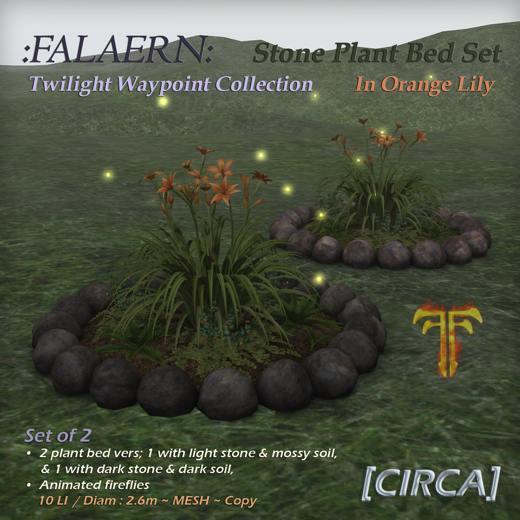 @ Fantasy Faire 2019 | [CIRCA] – :Falaern: Stone Plant Bed Set – In Orange Lily