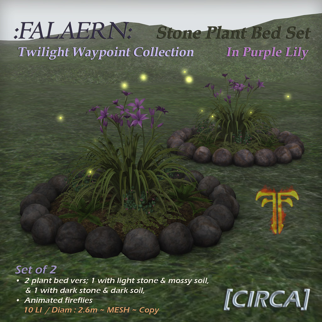 @ Fantasy Faire 2019 | [CIRCA] – :Falaern: Stone Plant Bed Set – In Purple Lily