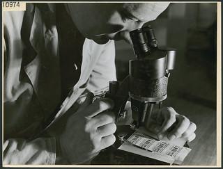 A man looking through a specially designed microscope at the RCMP laboratories for detecting counterfeit bills... / Un homme dans les laboratoires de la GRC utilisant un microscope spécialement conçu pour détecter les billets, l'écriture...