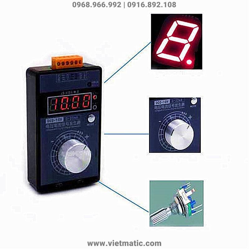 Hiển thị LED 7 thanh, điều chỉnh tín hiệu phát bằng biến trở Volume