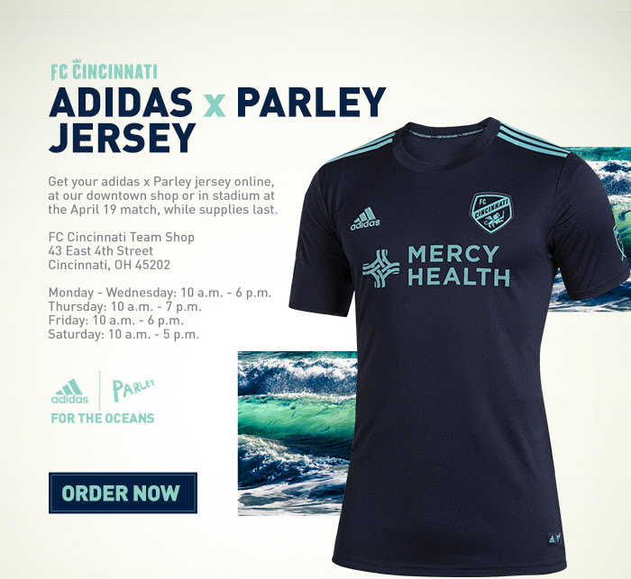 8114d292e So imagine my delight when I got this email from FC Cincy touting these  limited edition Adidas X Parley navy Earth Day jerseys…
