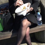 Well dressed lady having lunch
