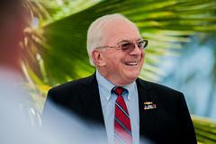 PITI, Guam (April 19, 2019) Retired Vice Adm. Albert Konetzni laughs at jokes from his former colleagues describing his historic moments as Pacific Fleet Submarine Force commander during the Konetzni Hall building dedication ceremony held at Commander, Submarine Squadron 15 headquarters. As the Pacific Fleet Submarine Force commander, Konetzni spearheaded the squadron's reactivation in 2002, forward-deploying three Los Angeles-class fast attack out of Guam.  (U.S. Navy photo by Mass Communication 1st Class Timmy Wakefield/Released)