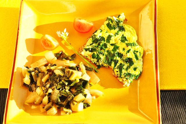 Grün essen am Gründonnerstag ... Bärlauch-Omelett mit Mangoldgemüse ... Foto: Brigitte Stolle, 2019