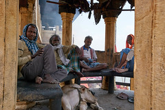 Having a fireside chat at the burning cremation ghat, Varanasi India